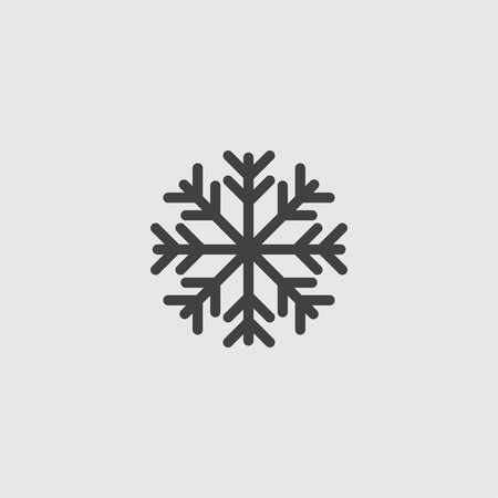 lightweight ornaments: Snowflake icon in a flat design in black color. Vector illustration