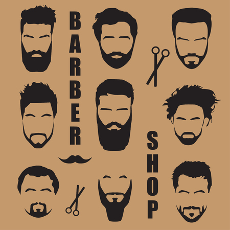 style goatee: Set mens hair with a beard. Barber shop Illustration