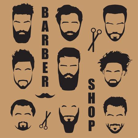 Set men's hair with a beard. Barber shop Vetores