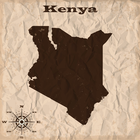 republic of colombia: Kenya old map with grunge and crumpled paper. Vector illustration