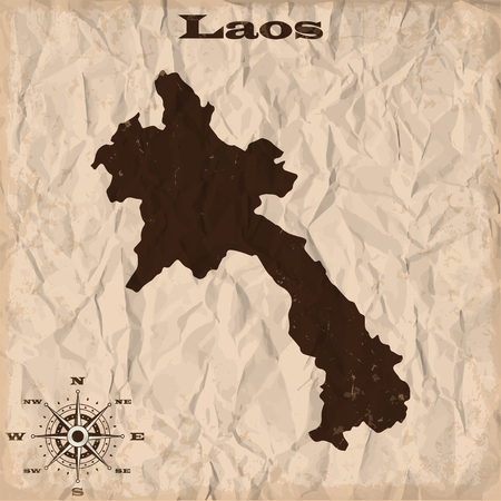republic of colombia: Laos old map with grunge and crumpled paper. Vector illustration