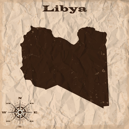 republic of colombia: Libya old map with grunge and crumpled paper. Vector illustration