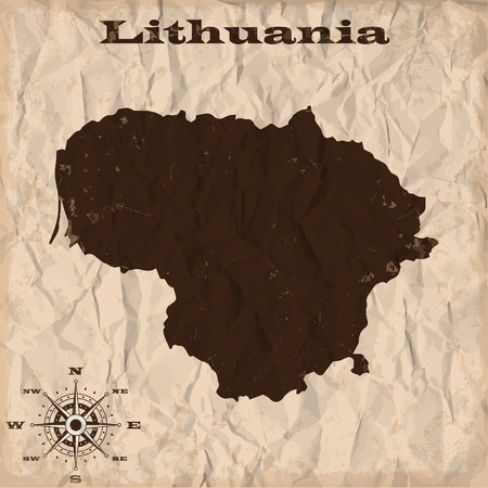Lithuania old map with grunge and crumpled paper. Vector illustration Illustration