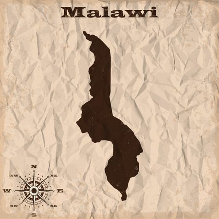 republic of colombia: Malawi old map with grunge and crumpled paper. Vector illustration