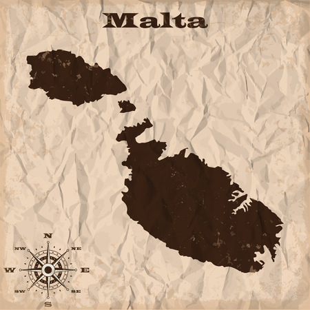 maltese map: Malta old map with grunge and crumpled paper. Vector illustration Illustration