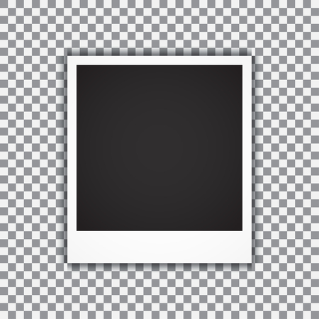 polariod: Old empty realistic photo frame with transparent shadow on plaid black white background. Vector illustration