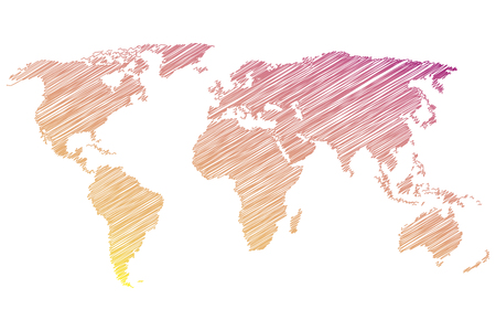 Colorful world map on a white background. Vector illustration Stock Illustratie