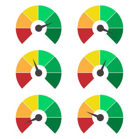 Conjunto de iconos de medición. Velocímetro o medidor calificación signos de calibre elementos infográficos Ilustración de vector