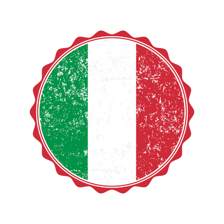 Italy flag stamp with grunge. Vector illustration