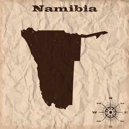 Namibië oude kaart met grunge en proppen papier. vector illustratie