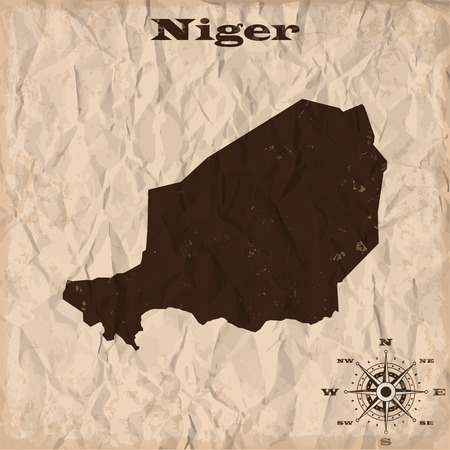 republic of colombia: Niger old map with grunge and crumpled paper. Vector illustration
