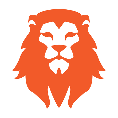 Lion head or icon in one color. Vector illustration.