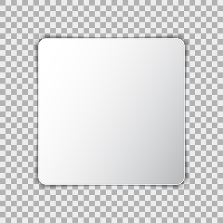 square sheet: White blank poster mockup in square, sheet of paper on transparent background Illustration