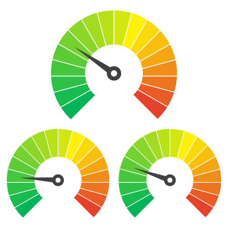 moderation: Set of measuring icons on a white background. Speedometer icons set