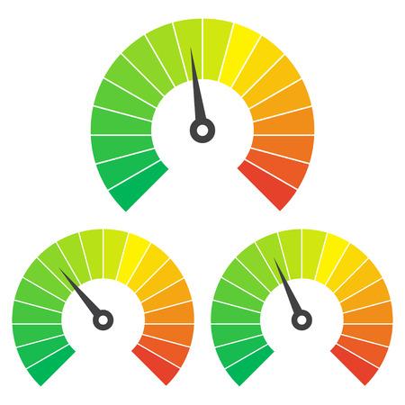 medium: Set of measuring icons on a white background. Speedometer icons set