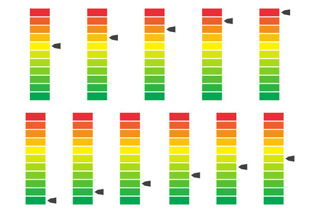 coded: Color coded progress, level indicator with units. Vector illustartion