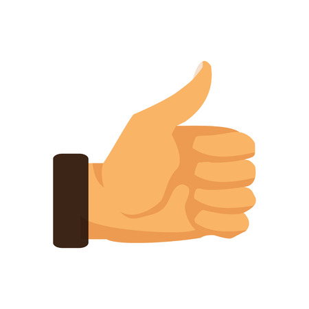 Hand thumb up sign on a white background. Vector illustration