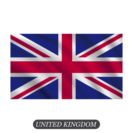 britannia: Waving UK flag on a white background. Vector illustration