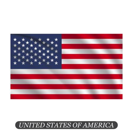 Waving USA flag on a white background. Vector illustration Illustration