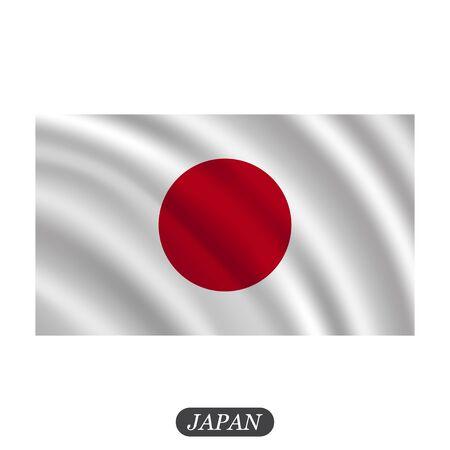 bandera japon: Waving Japan flag on a white background. Vector illustration Vectores