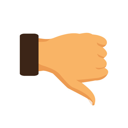disapprove: Hand thumb down sign on a white background. Vector illustration Illustration