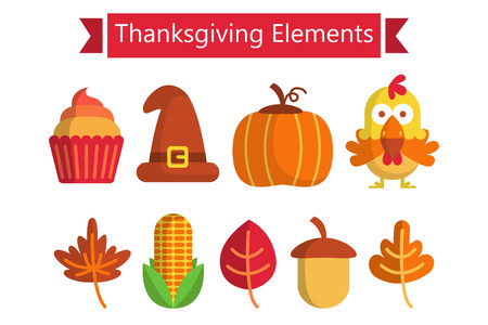 Collection of Thanksgiving object. Thanksgining elements. Vector illustration