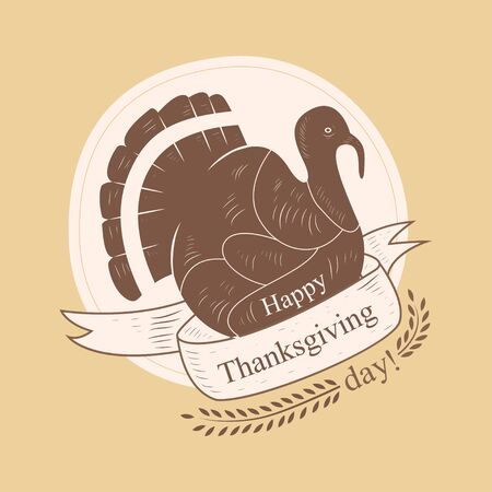 Thanksgining label with turkey in vintage style. Vector illustration