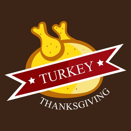 Thanksgining logo with turkey on a brown background