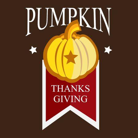 Thanksgining logo with pumpkin on a brown background