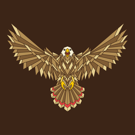 dashing: Bald Eagle isolated on a brown background. Vector illustration Illustration