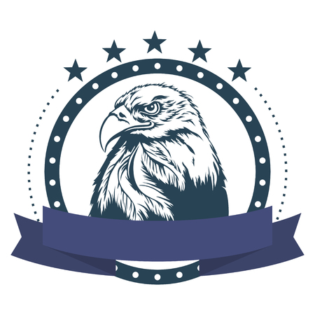 illustrated: Eagle logo with ribbon on a white background. Vector illustration