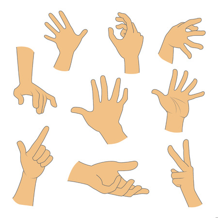 Hands gestures realistic set on a white background Illustration