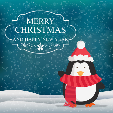 Christmas penguin points on Christmas label. Vector illustration