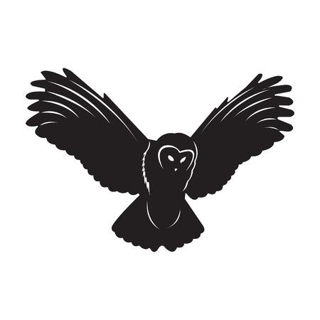 Owl Bird in black on a white background. illustration Stock Illustratie