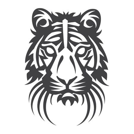 Tiger head in black on a white background