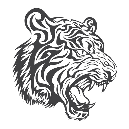 fang: Tiger head  in black on a white background Illustration