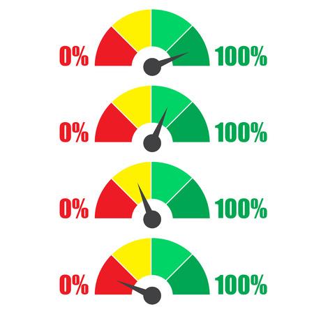 Set of measuring icons. Speedmeter or rating meter signs infographic gauge elements
