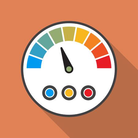 speedmeter: Speedmeter icon with long shadow in a flat design