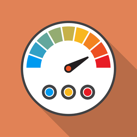 Speedmeter icon with long shadow in a flat design