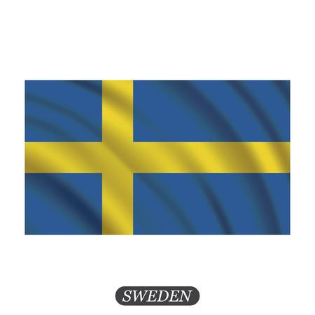 bandera de suecia: Waving Sweden flag on a white background. illustration
