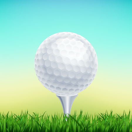 Golf ball in green grass of golf course with white area for text and create graphic idea