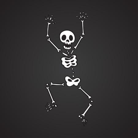 Funny skeleton on a black background. Vector illustration eps10 Illustration