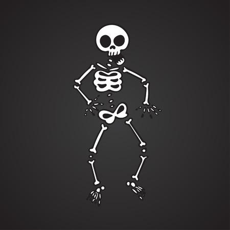 Funny skeleton on a black background. Vector illustration
