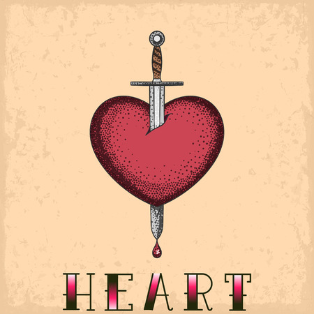 Heart with sword tattoo on a grunge background
