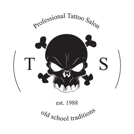 Tattoo skull logo on a white background. Vector illustration Illustration