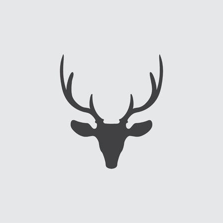 head profile: Deer head icon in a flat design in black color. Vector illustration
