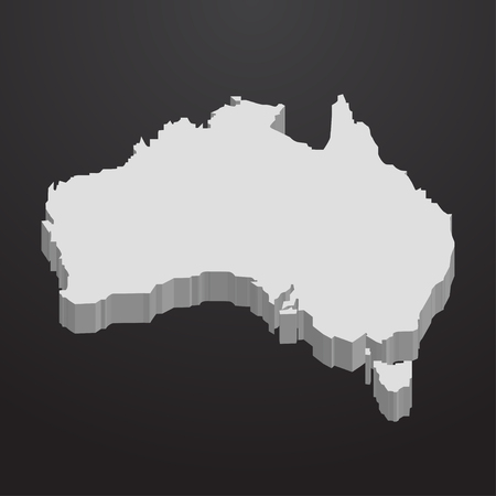 Australia map in gray on a black background 3d