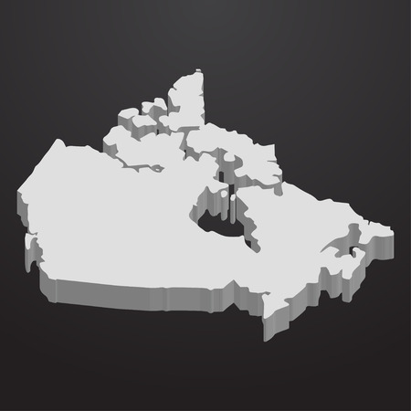Canada map in gray on a black background 3d