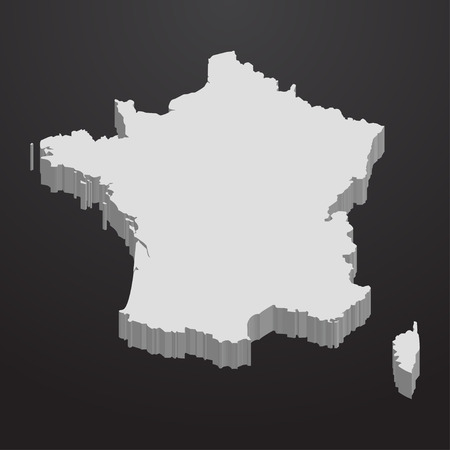 corsica: France map in gray on a black background 3d