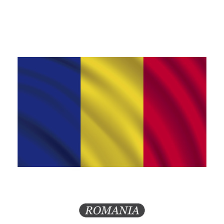 Waving Romania flag on a white background. illustration Illustration